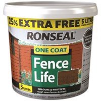 Ronseal  One Coat Fence Life - 4 Litre + 25% Extra Free