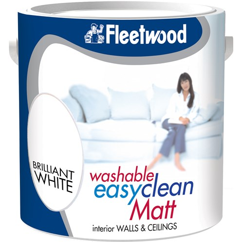 Fleetwood Easyclean Washable Matt Brilliant White Paint - 2.5 Litre