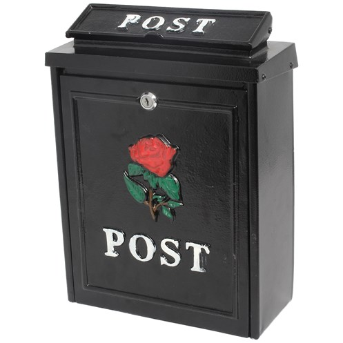 De Vielle  Diecast Post Box - Black with Red Rose
