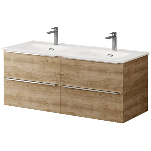 Bathroom Studio  Kara 120cm 2 Drawer Wall Hung Unit & Basin Natural Oak